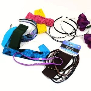 19 Headbands Elastic & Plastic Variety Of Colors